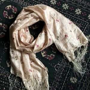 Floral embroidered Japanese silk scarf